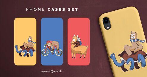 Sloth phone cases set