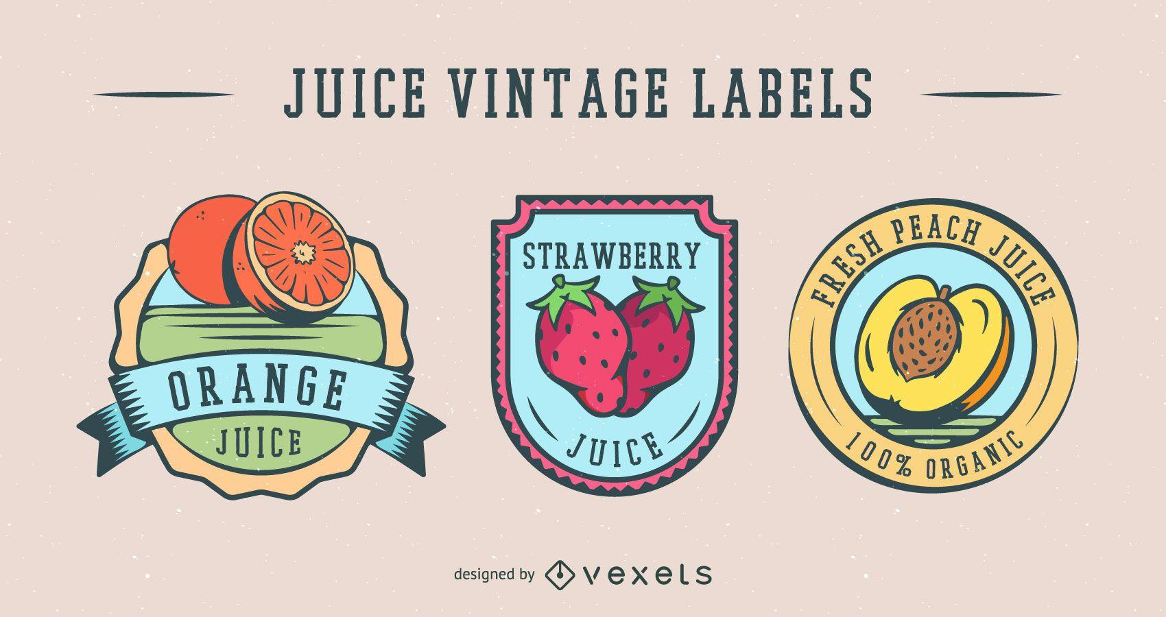 Paquete de etiquetas vintage de jugo de fruta