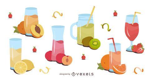 Pacote de design de ilustração de suco de fruta