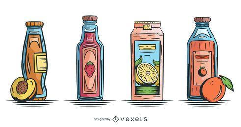 Pacote de design de suco de fruta desenhado à mão