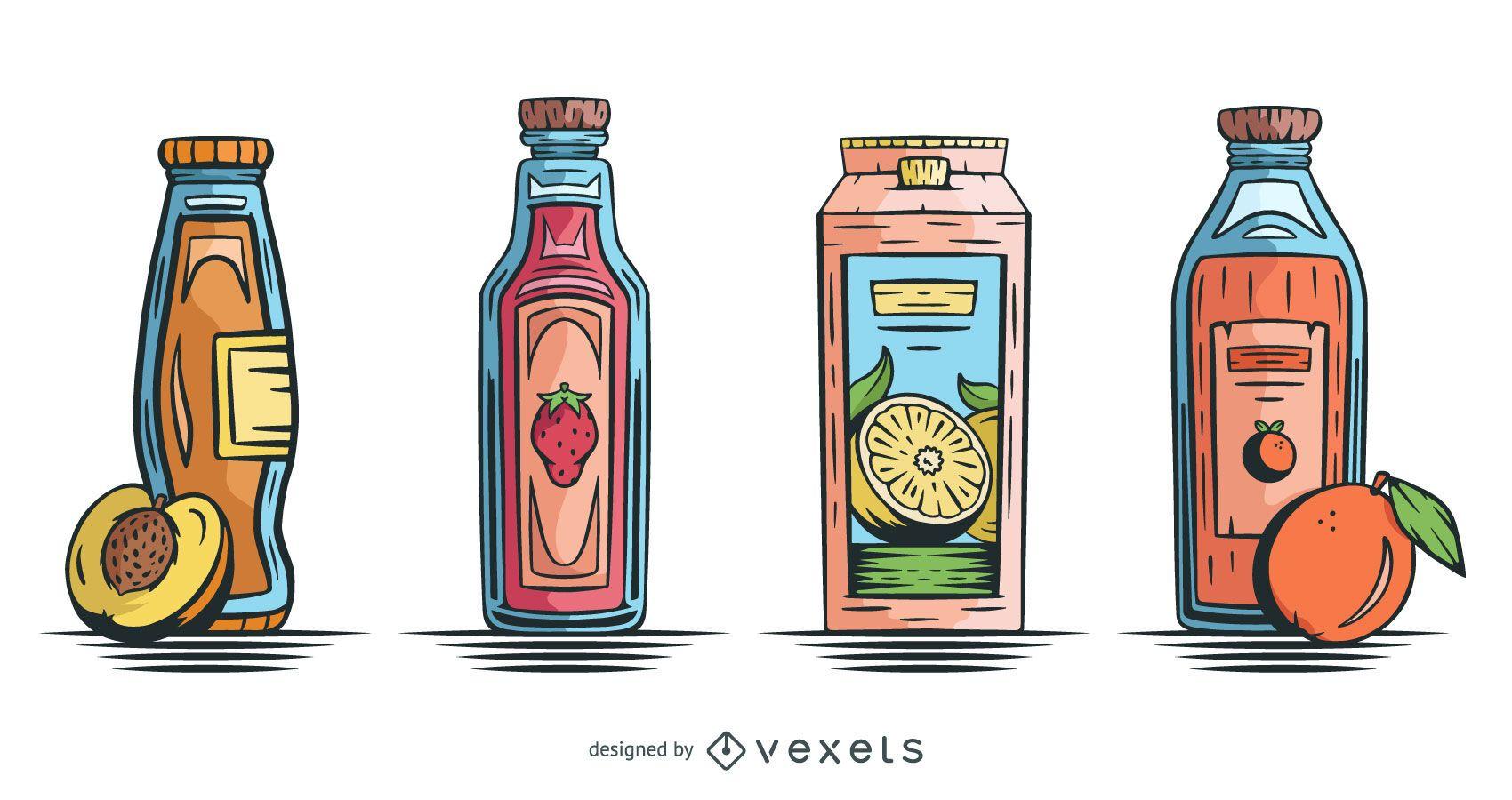 Paquete de diseño de jugo de fruta dibujado a mano