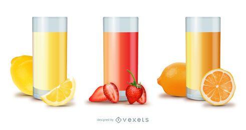 Conjunto de vidro de suco de fruta brilhante realista