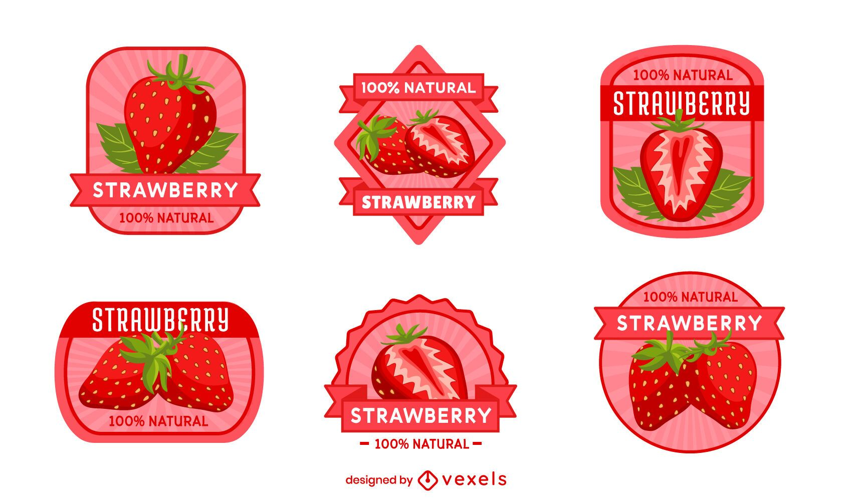 Strawberry Fruit Badge Design Set