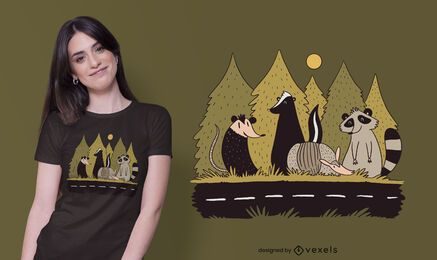 Animals street t-shirt design