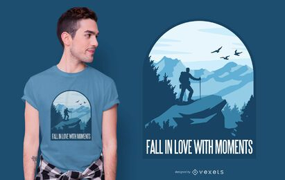 Diseño de camiseta de cita de momentos de amor