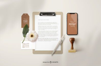 Branding elements mockup composition