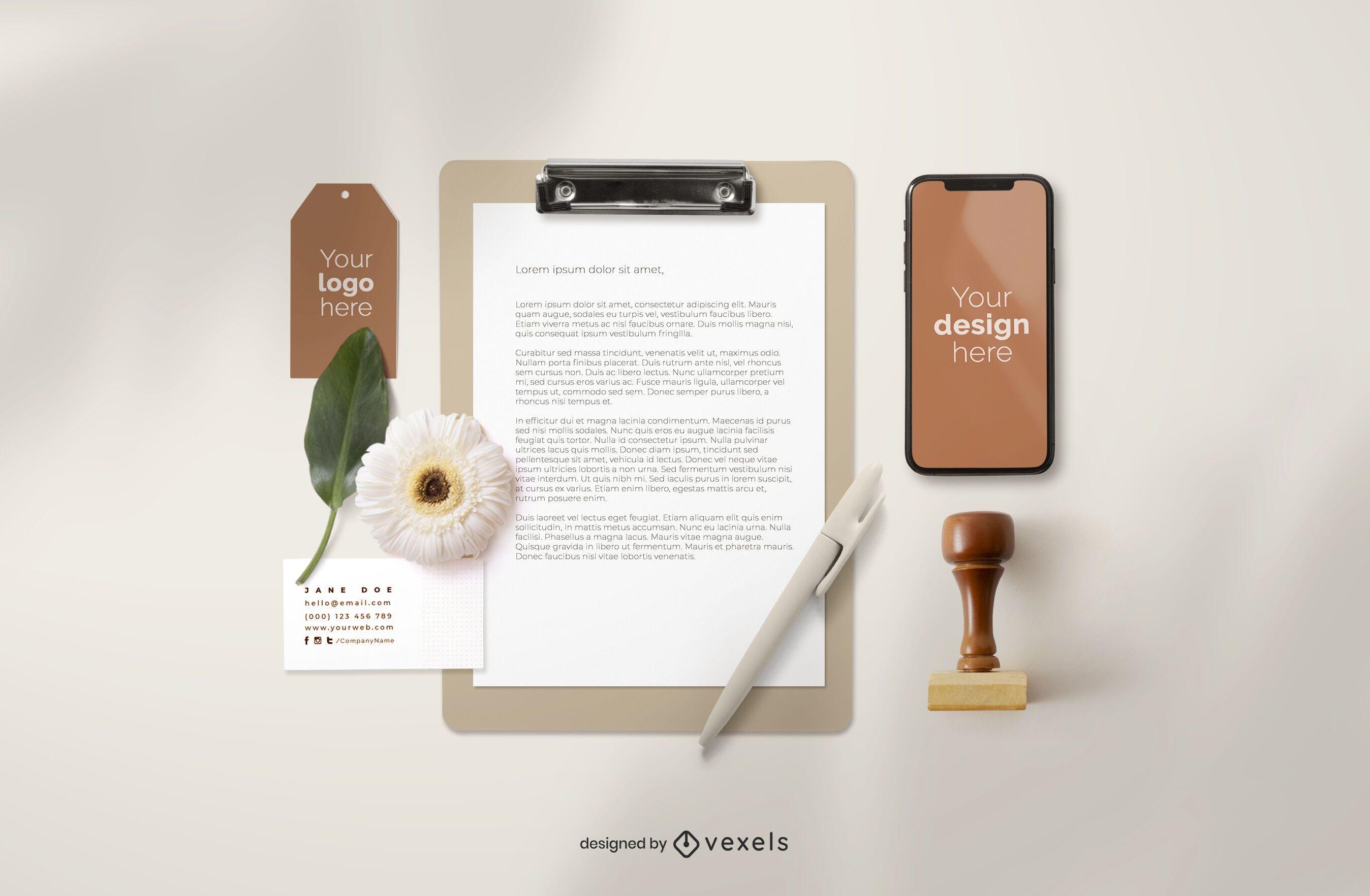 Branding elements mockup composition