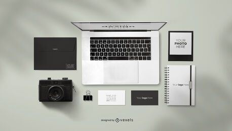 Stationery supplies mockup composition