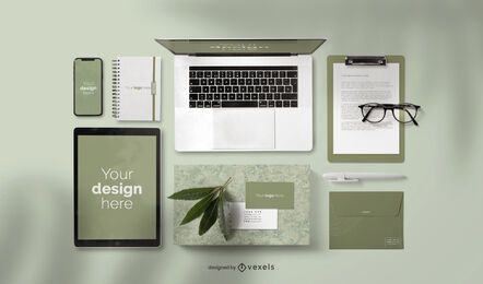 Stationery elements mockup composition