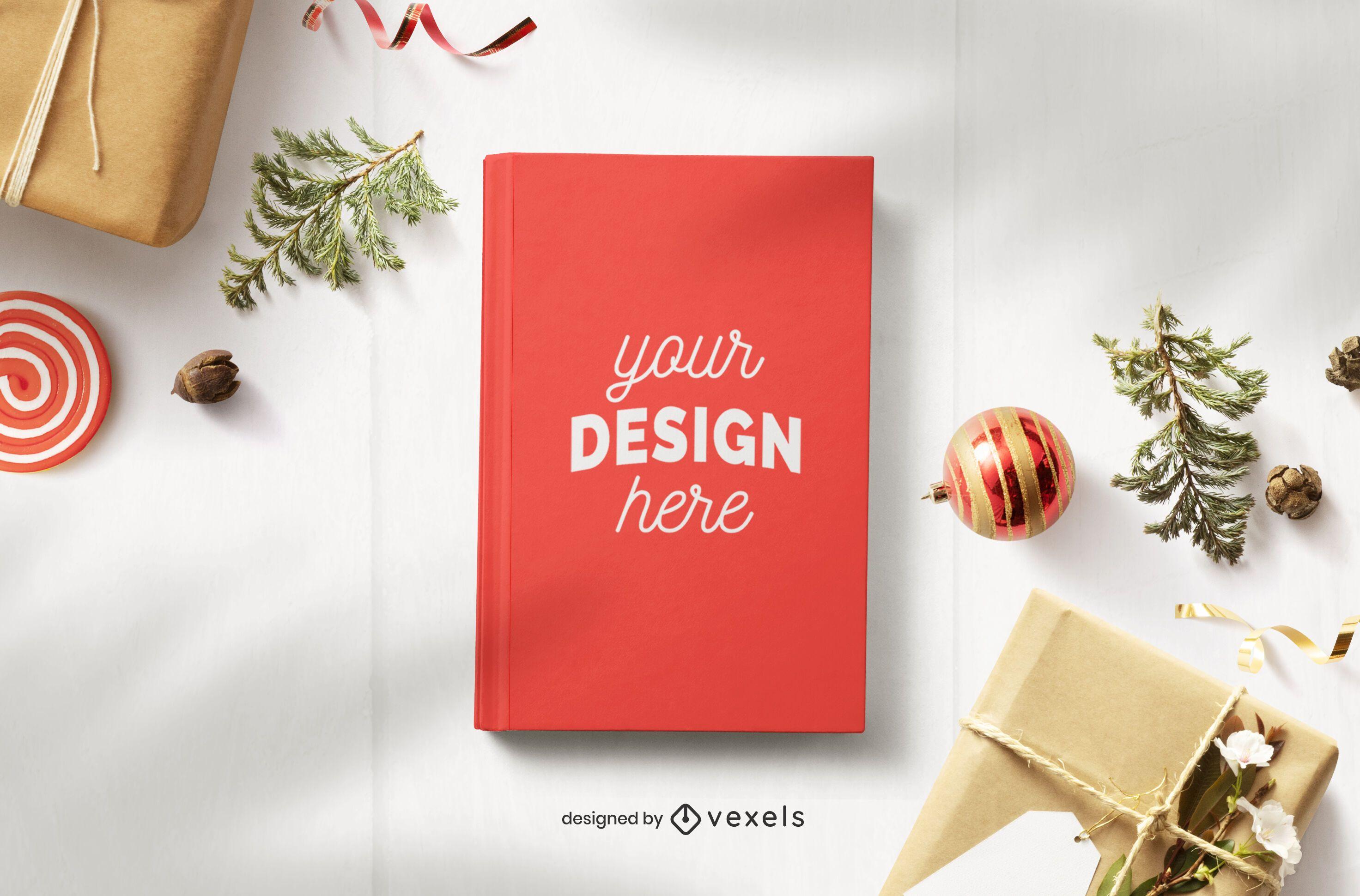 Composição de maquete de livro de Natal