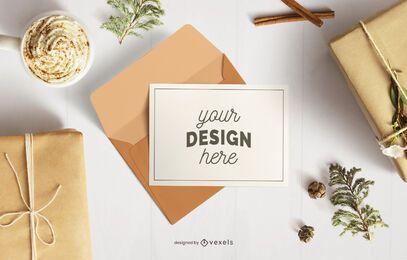 Composição de maquete de envelope de cartão de Natal