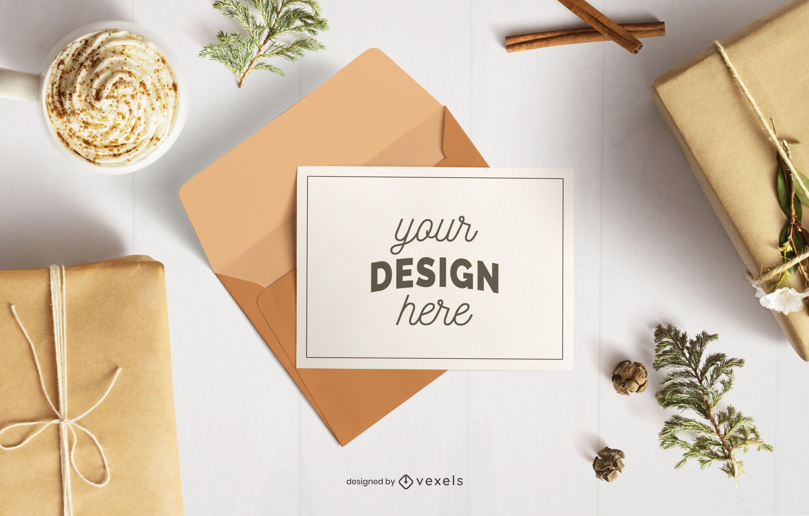 Christmas card envelope mockup composition