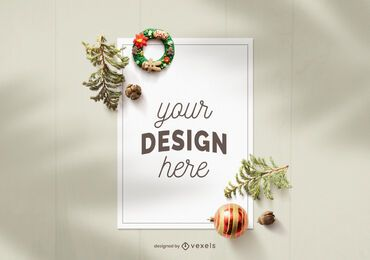Christmas paper sheet mockup composition