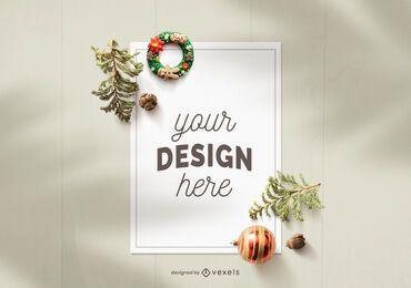 Composição de maquete de folha de papel de Natal