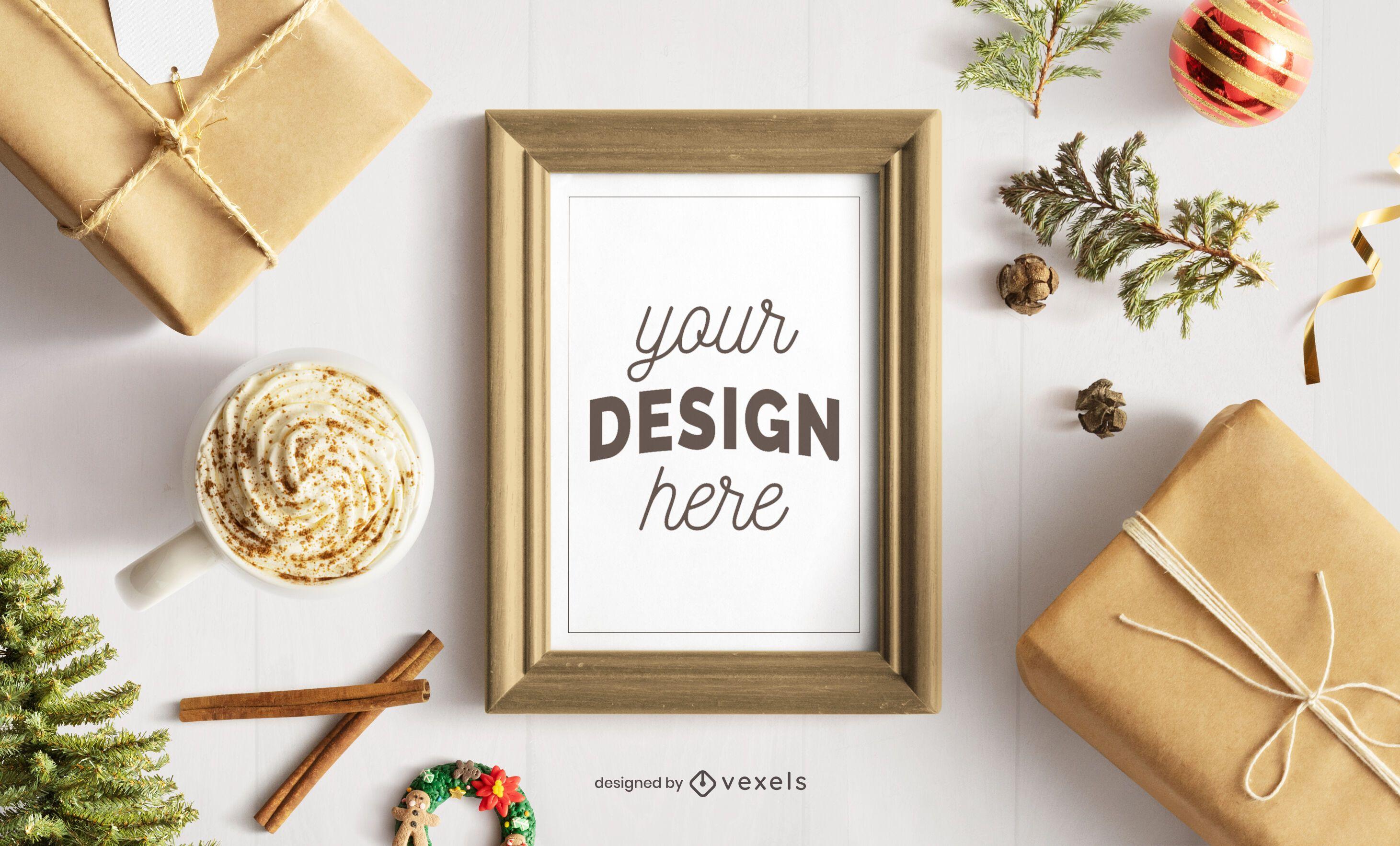 Composición de maqueta de cartel de marco de Navidad