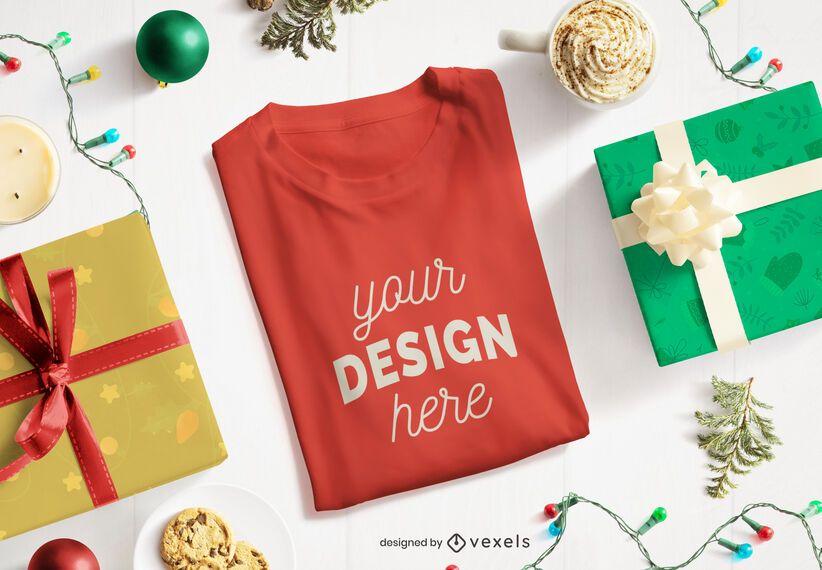 Christmas folded t-shirt mockup composition