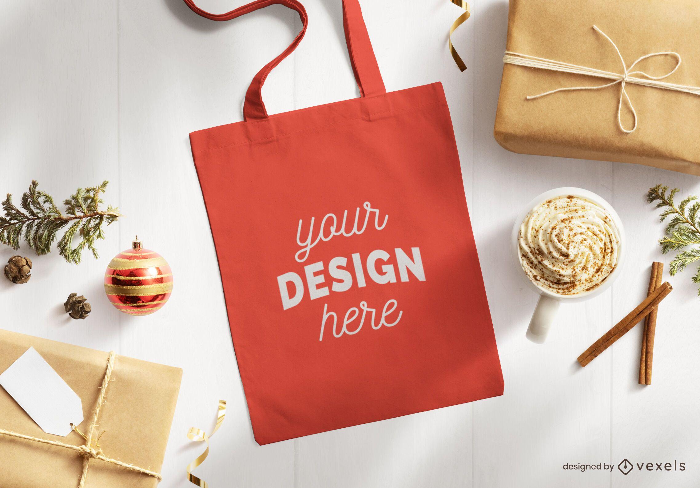 Christmas tote bag mockup composition