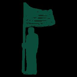 America flag bearer silhouette