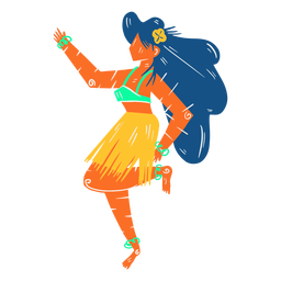 Hawaiian female dancer hula illustration