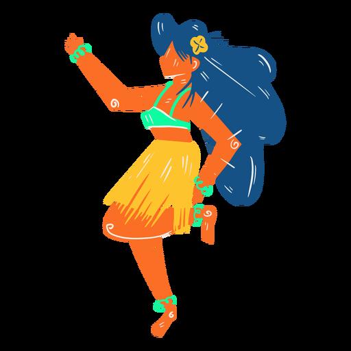 Hawaiian female dancer hula illustration