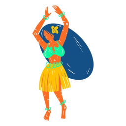 Hawaiian female dancer illustration
