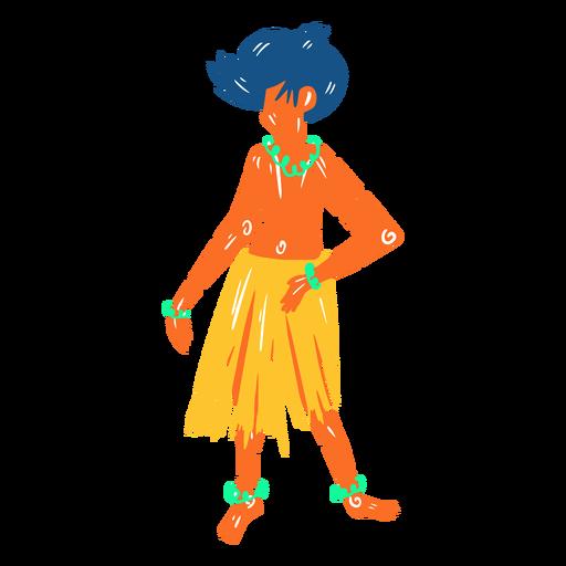 Hawaiian male dancer hula illustration