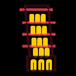 Torre inclinada de traço colorido de pisa