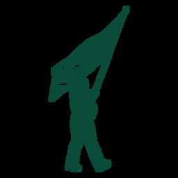 Silueta de portador de bandera de reino unido