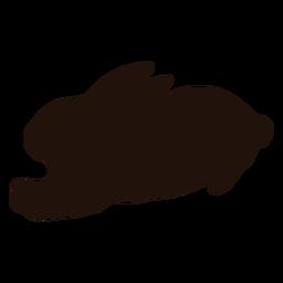 Animal conejo acostado silueta