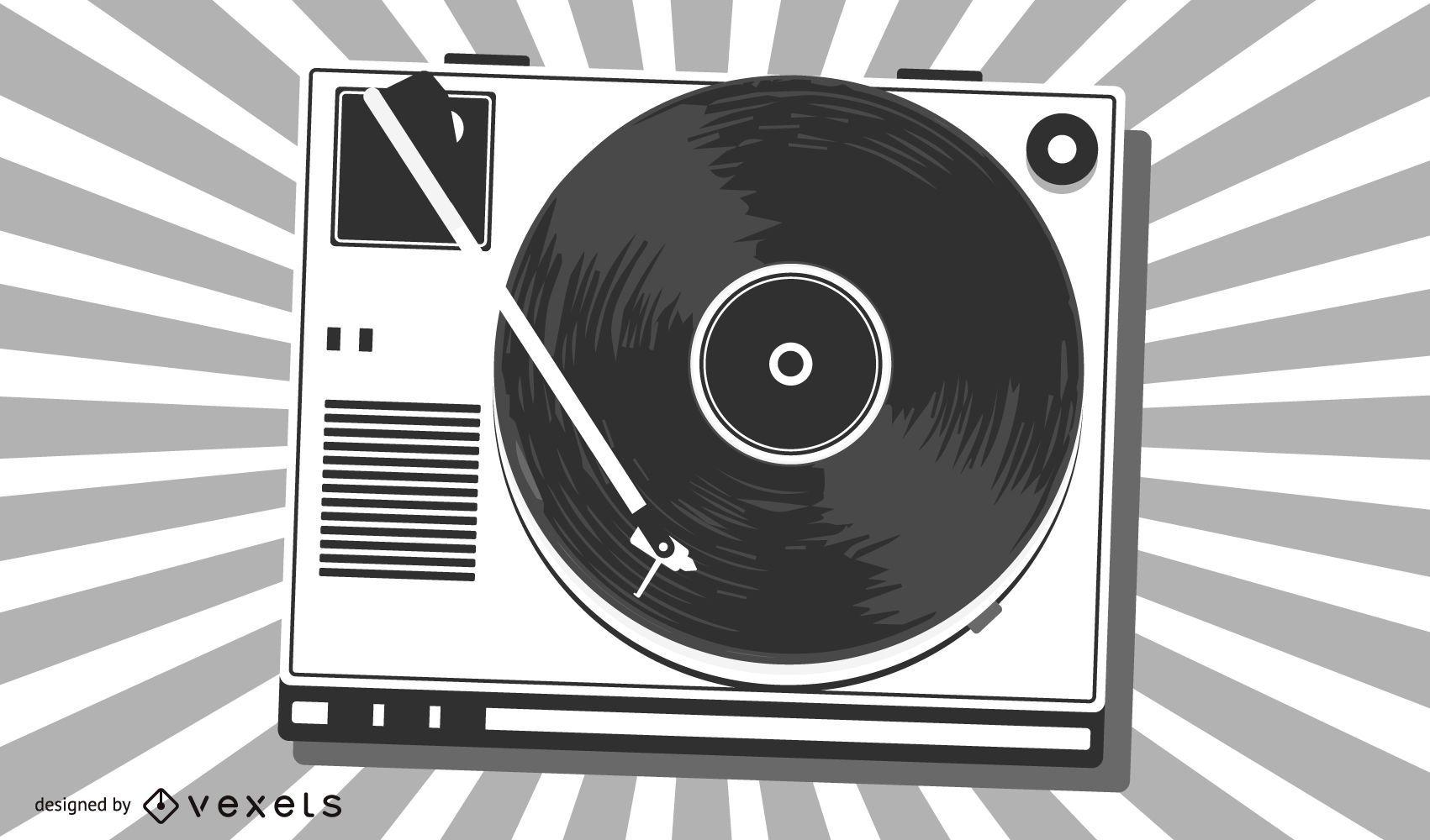 Vector de tocadiscos de música