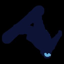 Silhueta de snowboard back flip