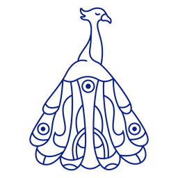 Trazo de plumas de pavo real de pájaro cerrado