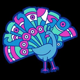 Pájaro pavo real colorido plano