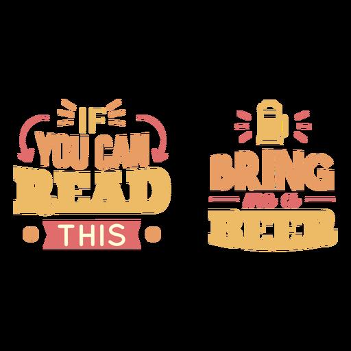 Bring me a beer lettering Transparent PNG