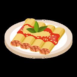 Ilustración de comida de canelones