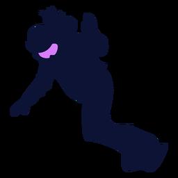 Silueta de snowboarder descendente
