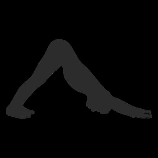 Silueta de yoga perro hacia abajo