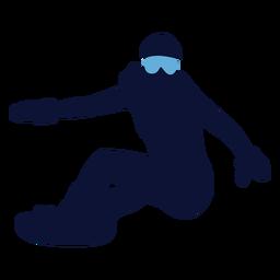 Silhueta feminina de snowboard