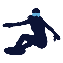 Silueta de mujer snowboarder