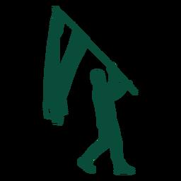 Flag bearer marching silhouette