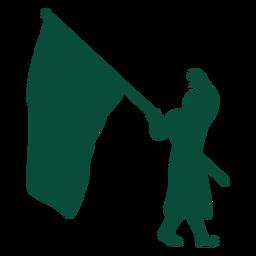 Flag bearer waving silhouette