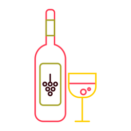 Botella de vidrio trazo de color vino