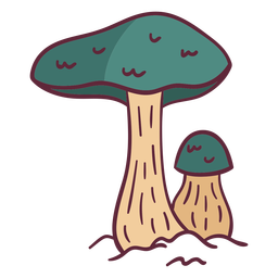 Green mushroom wild illustration
