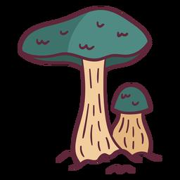 Ilustración salvaje de setas verdes