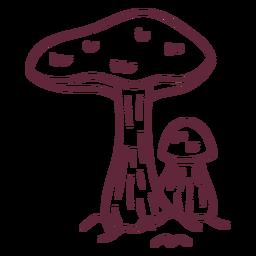 Golpe selvagem de cogumelo verde
