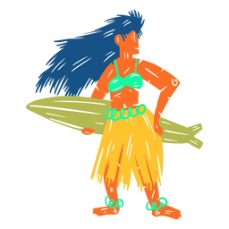Hawaiian female surfer illustration