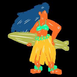 Ilustración de surfista femenina hawaiana