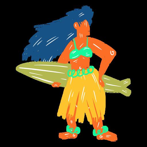 Hawaiian female surfer illustration