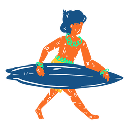Ilustración de surfista masculino hawaiano