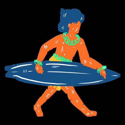 Hawaiian male surfer illustration